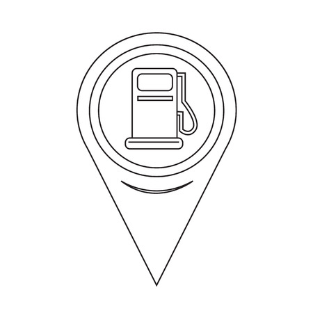 Map Pointer Gas Pump Icon Vector