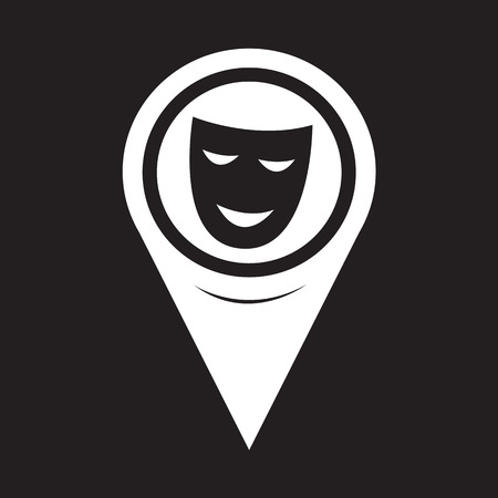 Map Pointer Theatrical Masks Icon Vector
