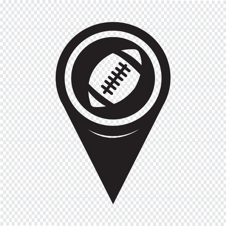 college footbal: Map Pointer American Football Icon