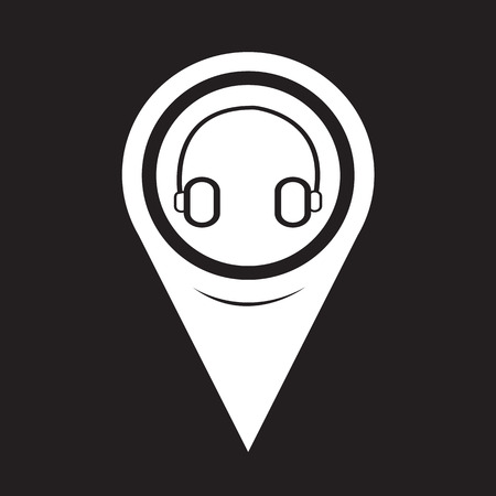 earpieces: Map Pointer Headphone Icon Illustration