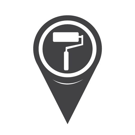 paintroller: Map Pointer paint roller Icon