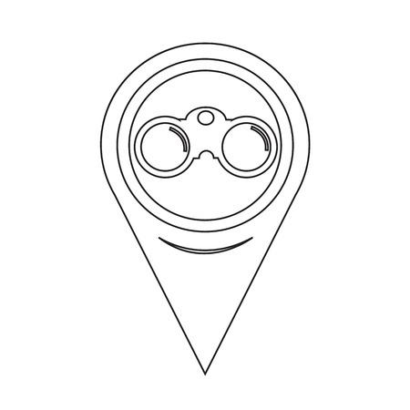 binocular: Map Pointer Binocular Icon Illustration