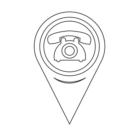 old phone: Map Pointer Old Phone Icon Illustration
