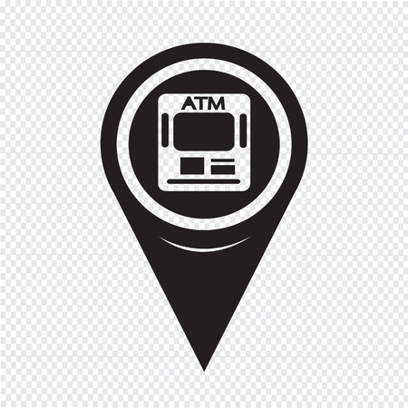 Map Pointer ATM Icon Vector