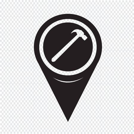 whack: Map Pointer Hammer Icon