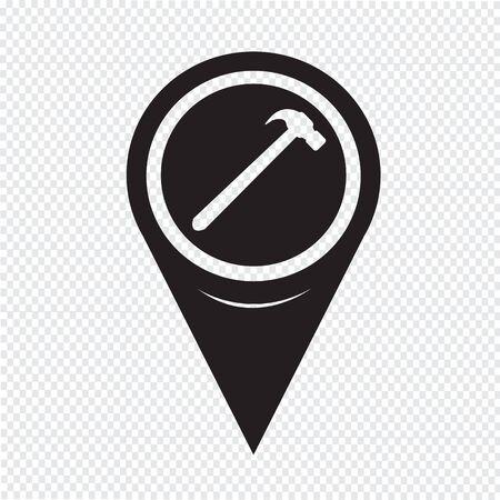 apalancamiento: Mapa Puntero Hammer Icono