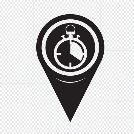 watch movement: Map Pointer Stopwatch Icon Illustration