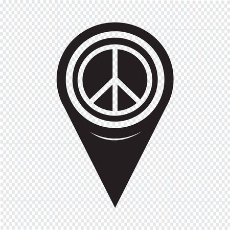 antiwar: Map Pointer Peace Sign Icon Illustration