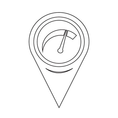 km: Map Pointer Car Meter Icon Illustration