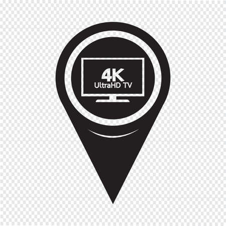 map pointer: Map Pointer HD TV Icon Illustration