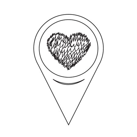 position d amour: Pointeur de carte Coeur Ic�ne Illustration