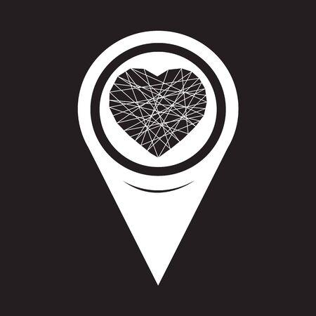 position d amour: Icône de coeur pointeur de carte Illustration