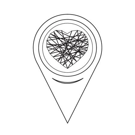 position d amour: Ic�ne de coeur pointeur de carte Illustration