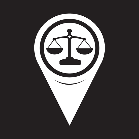 fair trial: Map Pointer Scales Of Justice Icon