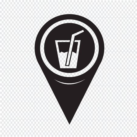 Map Pointer Drink Icon Vector