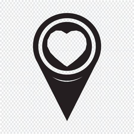 position d amour: Pointeur de carte Coeur Icône Illustration