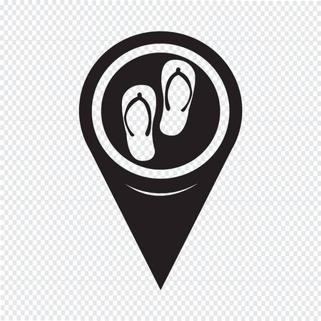 slippers: Map Pointer Slippers Icon Illustration