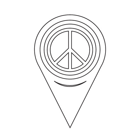 pacifist: Map Pointer Peace Sign Icon Illustration