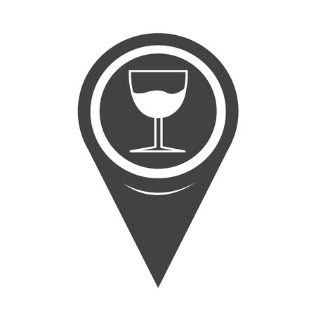 Map Pointer Glass Drink Icon Vector