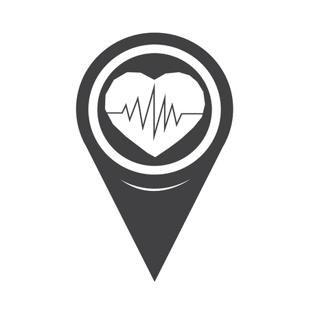 patient chart: Map Pointer Heartbeat Icon