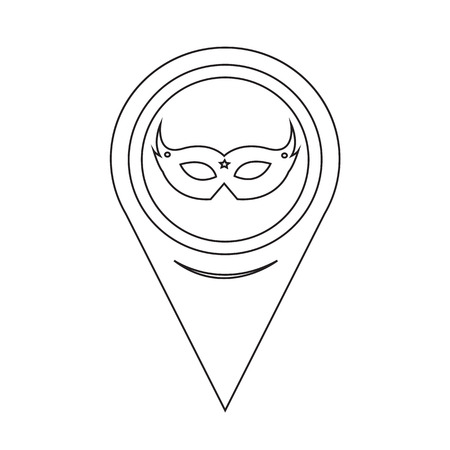 Map Pointer Carnival Mask Icon Vector