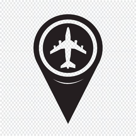 map pointer: Map Pointer Plane Icon