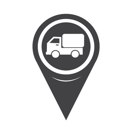 transporting: Map Pointer Car Truck Icon Illustration