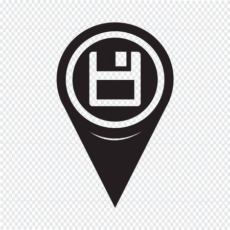 floppy: Map Pointer Floppy Disk Icon Illustration