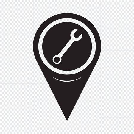 tooling: Map Pointer Wrench Icon