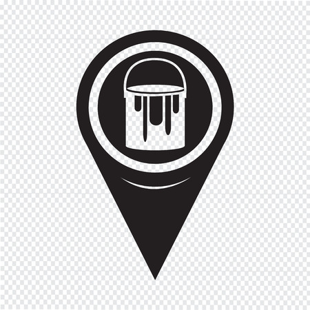 paint can: Map Pointer Paint Can Icon