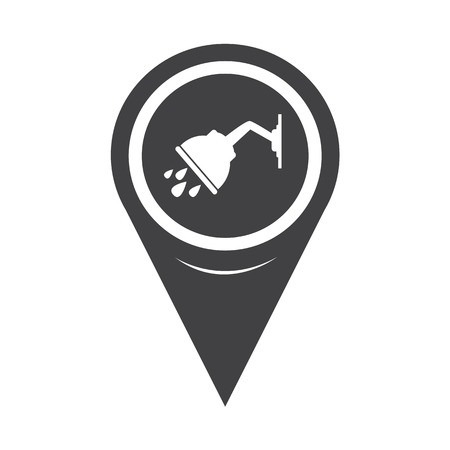 a bathing place: Map Pointer Shower Icon Illustration