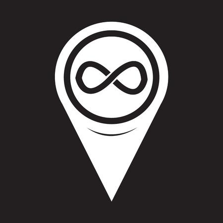 infinity symbol: Map Pointer infinity symbol icon Illustration