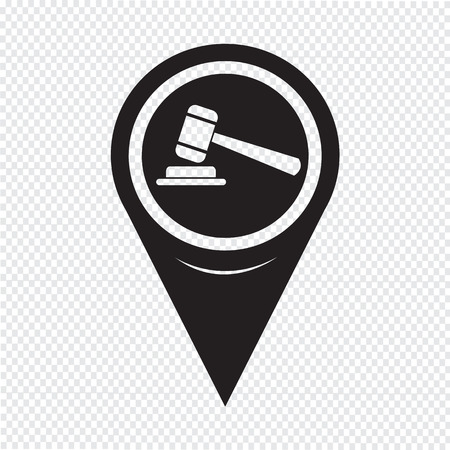 auctioneer: Map Pointer Gavel Icon Illustration
