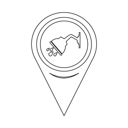 rinse: Map Pointer Shower Icon Illustration
