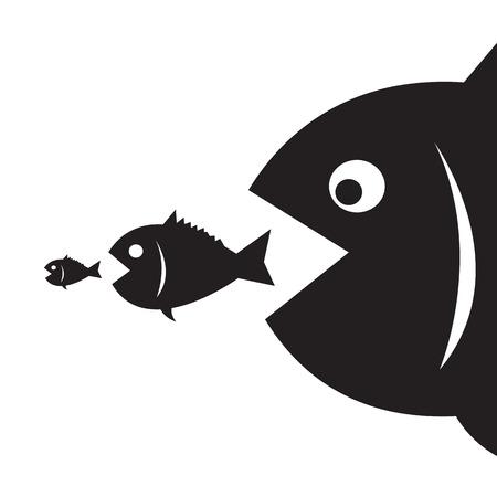 gros poissons mangent les petits poissons Vecteurs