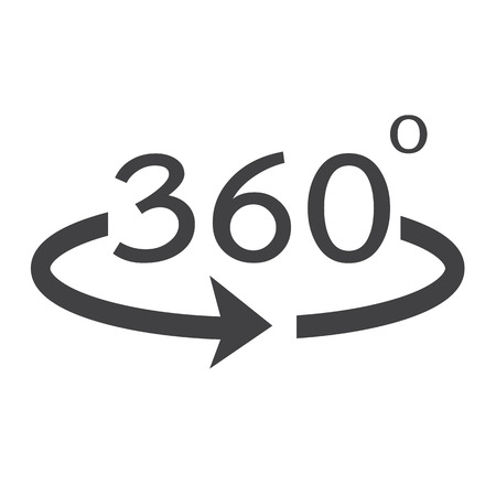 degrees: Angle 360 degrees icon Illustration
