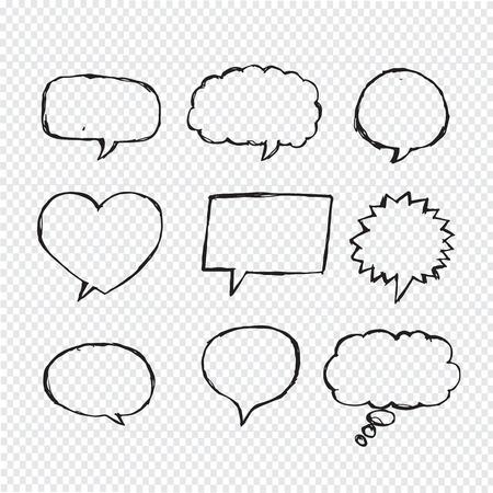 Speech Bubble Sketch hand drawn Ilustração