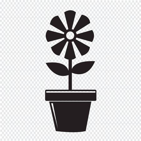 花ポットのアイコン  イラスト・ベクター素材