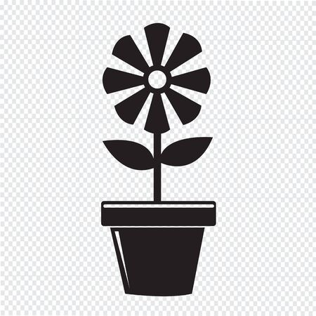 plant in pot: Flower Pot Icon Illustration