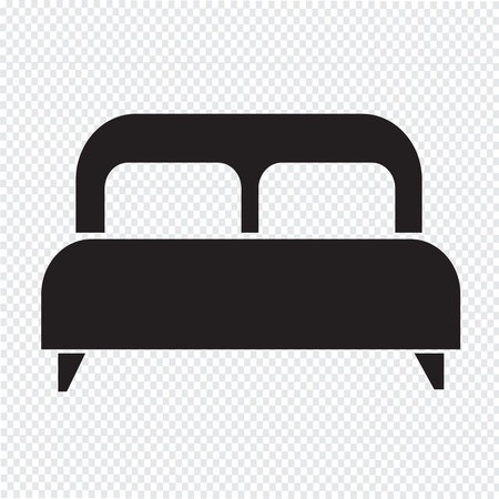 twin bed: double bed icon Illustration