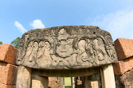 lintel: Prang Ku or Nong Ku Castle , Roi Et ,Thailand Editorial
