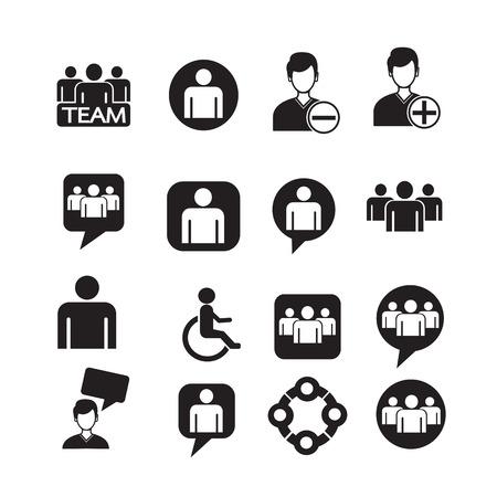 people icon set Illustration Vettoriali