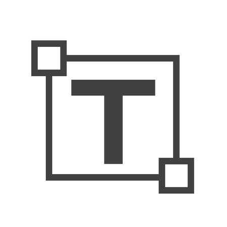 center position: Text edit letter icon Illustration