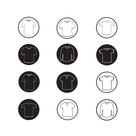 apparel: Set of Apparel shirt and T-shirt Icon Clothing icons Illustration
