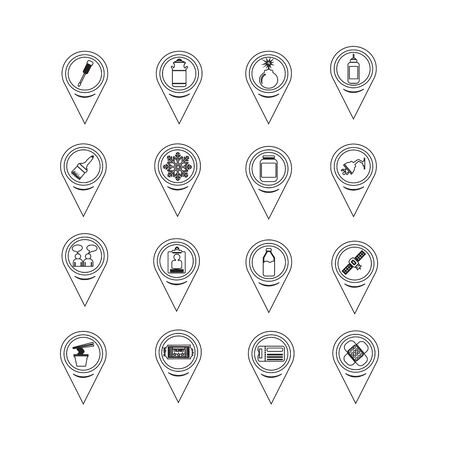 communication icons: Set of Map Pointer icons for website and communication Illustration