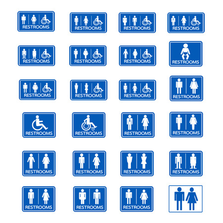 Restroom sign icon set