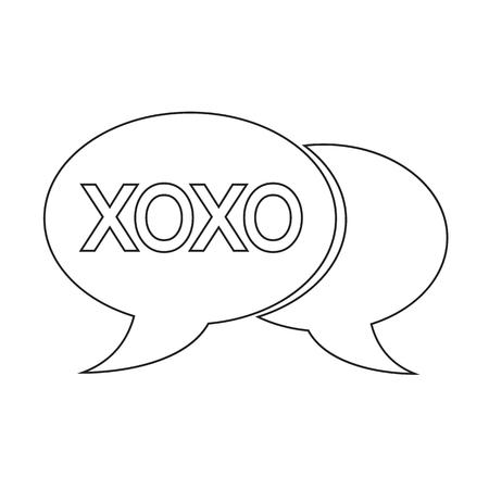 xoxo: internet acronym chat bubble illustration