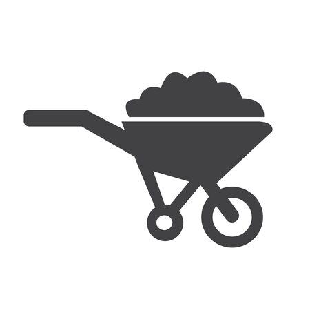 wheelbarrow: Wheelbarrow cart icon symbol Illustration Illustration