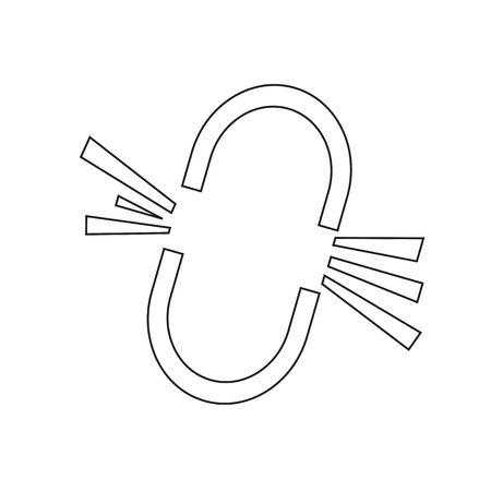 broken link: Broken Link Icon design Illustration Vettoriali
