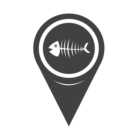 inedible: Map Pointer Fish skeleton Illustration